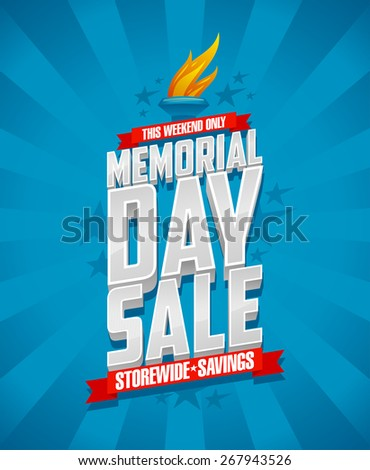 Banner for Memorial day sale, storewide savings. - stock vector