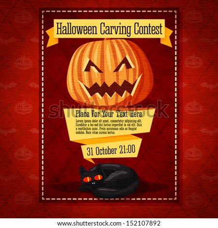 Banner for the carving contest or invitation to the halloween party with carved pumpkin and black cat. On the yellow ribbons. - stock vector