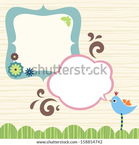Banner, frame design with bird, butterfly and flowers. - stock vector
