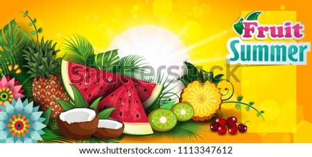 banner fruits summer tropical editable the text can stock vector