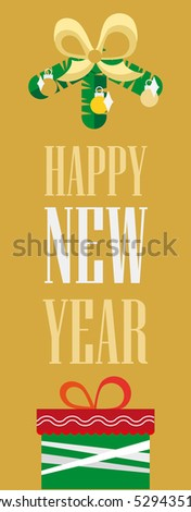 Banner Happy New Year. Simple design, bright illustration of a convenient   format.