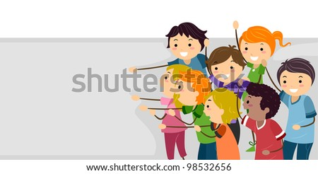 Banner Illustration Featuring Cheerful Kids - stock vector
