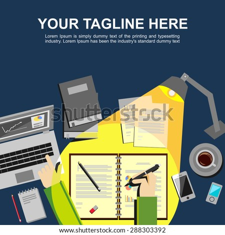 Banner illustration. Flat design illustration concepts for analysis, working, management, study hard, brainstorming, finance, working. - stock vector