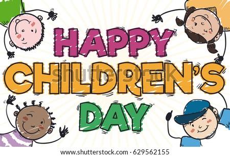 Banner Doodle Style Cute Multiethnic Kids Stock Vector ...