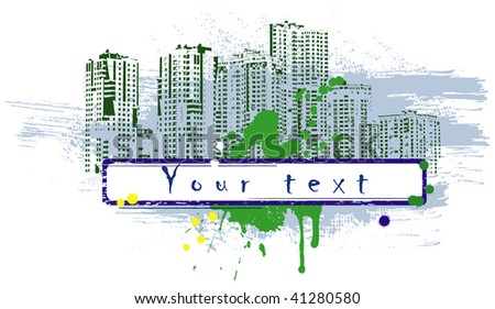 Banner in style city grunge. Vector art in EPS format.