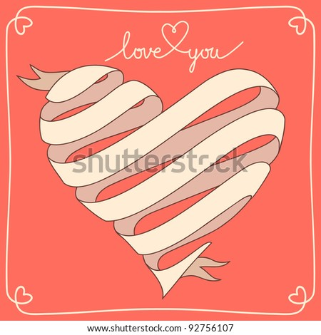 Banner in vector with heart made from  ribbon. Red background with text box for presentation, with frame and text - Love You. Original greeting card Valentines Day and wedding. - stock vector