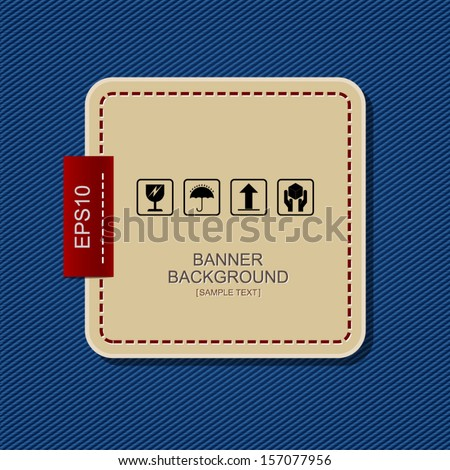Banner label background on blue jeans texture background - Vector illustration - stock vector