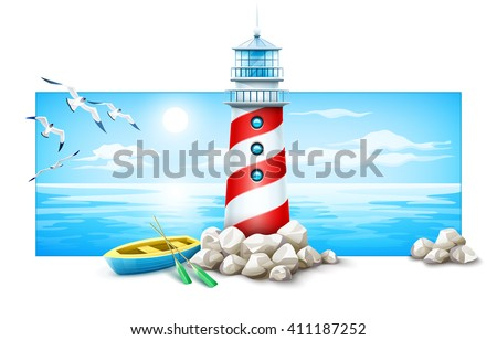 Banner lighthouse and boat rock stones island Sea sunset panorama, ocean skyline vector illustration Isolated on white background with island sky and seagulls