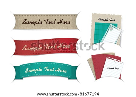 banner & note paper - stock vector