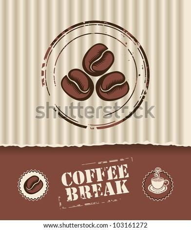 Banner of the corrugated cardboard box, and coffee beans - stock vector