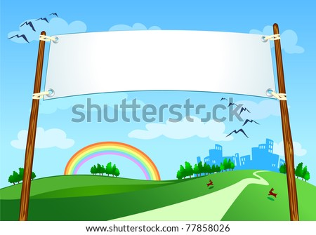 Banner on city landscape, vector - stock vector