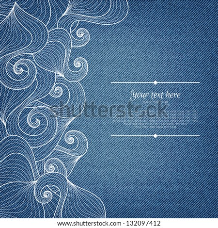 Banner on denim background with abstract hand-drawn pattern and place for your text in vector EPS 10. Invitation card. - stock vector