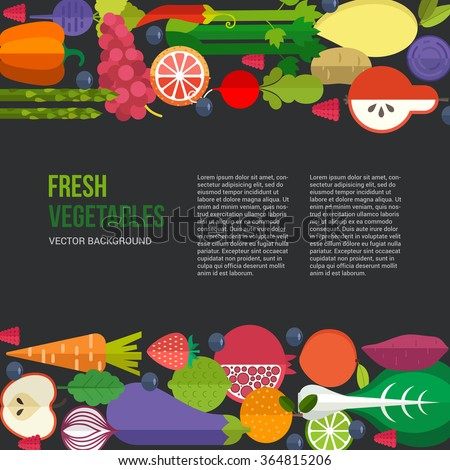 Banner or flyer template with organic fruits and vegetables. Conceptual illustration of healthy food made in flat style vector. Place for your text. - stock vector