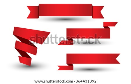 Banner ribbon vector set - stock vector