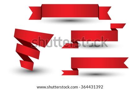 Banner ribbon vector set - stock vector