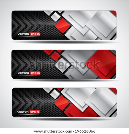 Banner set - metallic and carbon layout with red rectangular design elements - stock vector