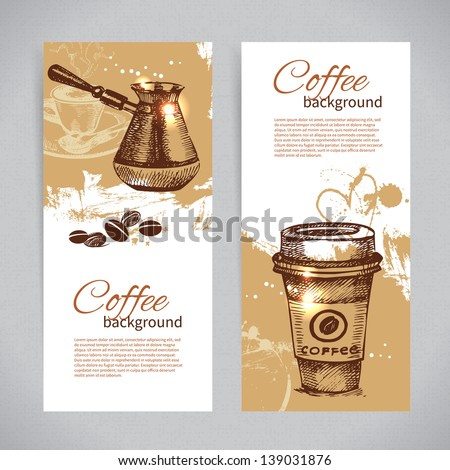 Banner set of vintage coffee backgrounds. Menu for restaurant, cafe, bar, coffeehouse - stock vector