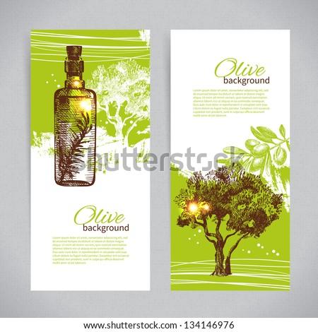Banner set of vintage olive background splash backgrounds - stock vector