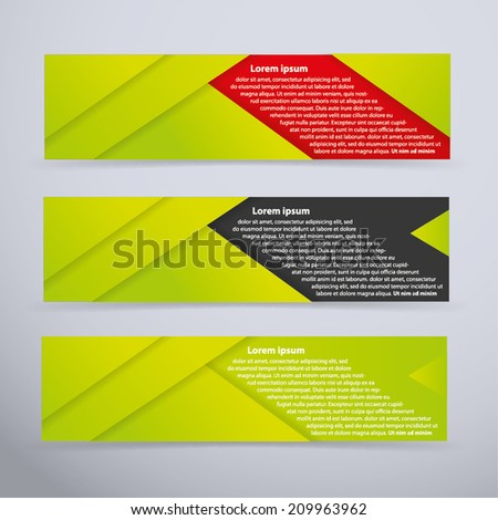 Banner set with green colors - vector illustration - stock vector