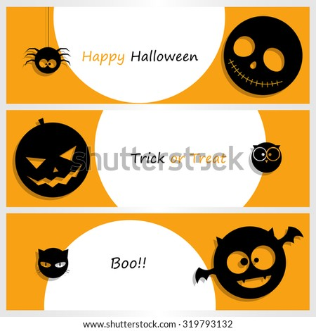 Banner set with Halloween pumpkin, ghost, bat, owl, cat, spider. Vector illustration
