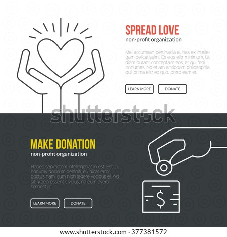 Banner template for fundraising event or non-profit organization. Flyer or banner design with helping hand made in vector. - stock vector