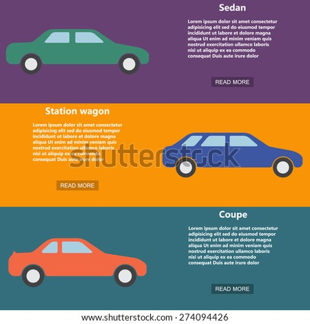 Banner,template,pattern flat style with sample of text and cars icon. Vector illustration EPS8