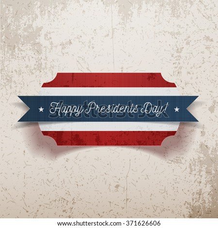 Banner Template with Happy Presidents Day Text - stock vector