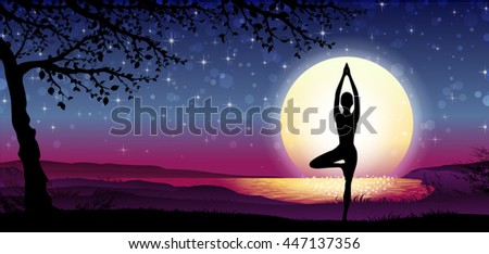Banner Vertical Silhouette Meditation with Nature and Sun on Background-Transparency Blending Effects and Gradient Mesh-EPS 10. - stock vector