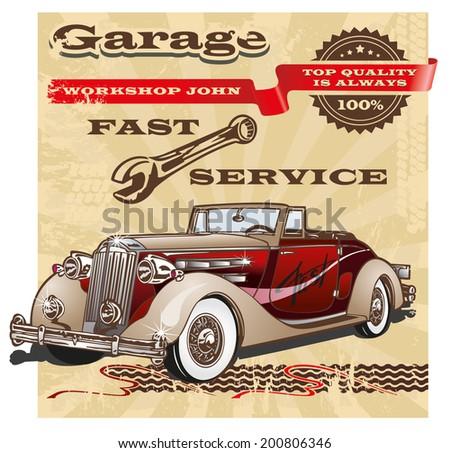 Banner vintage garage retro - stock vector