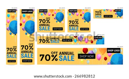 Banner website sale off package with balloon polygon pattern vector