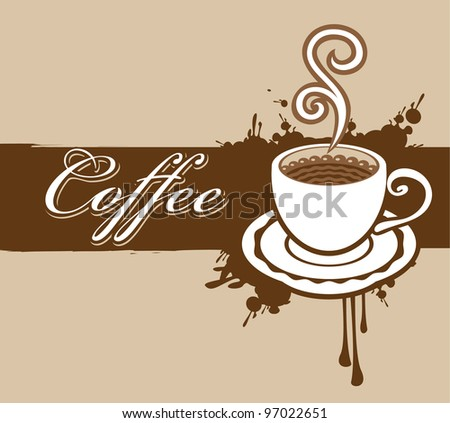 banner with a cup of coffee and a splash - stock vector