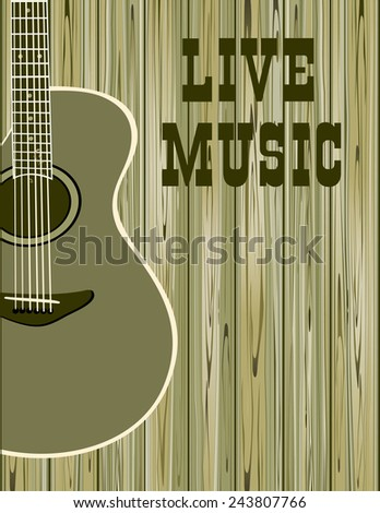 banner with an acoustic guitar on a wood background - stock vector