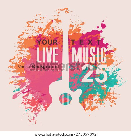 banner with an acoustic guitar on grungy color background - stock vector