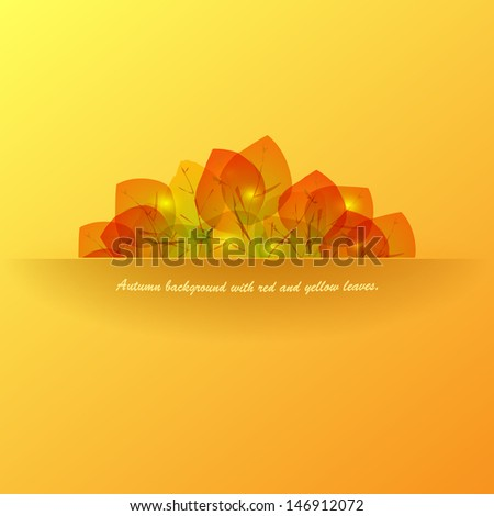 Banner with autumn leaves. Autumn background with red and yellow leaves. Vector eps 10 - stock vector