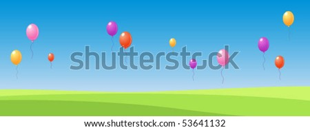 Banner with balloons - stock vector