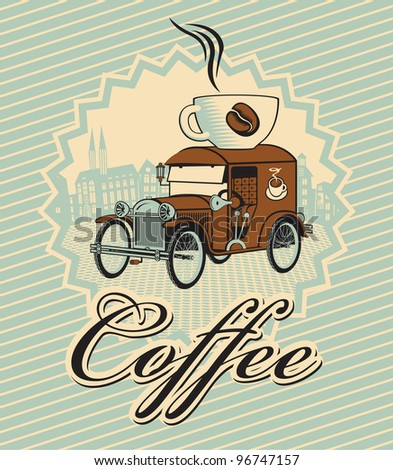 banner with car and cup of coffee on roof - stock vector