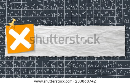 banner with crumpled paper and multiplication symbol - stock vector