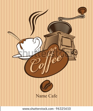 banner with cup of coffee and coffee grinder - stock vector