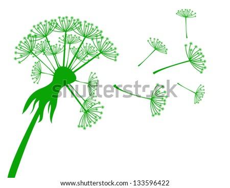 Banner with dandelion - stock vector