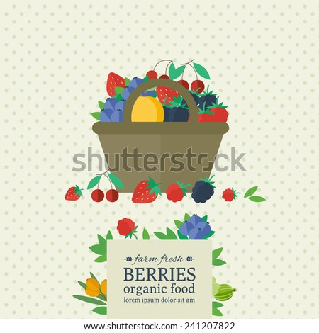 Banner with different berries in basket. Concept organic farm fresh food. Vector illustration - stock vector