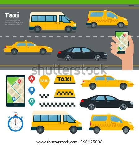 Banner with different types of taxi cars and hand hold mobile app for booking taxi on road background. Isolated icons of taxi and symbols. Illustrations for website, mobile, banners, brochures - stock vector