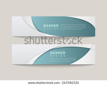 banner with elegant arc design in blue and white  - stock vector