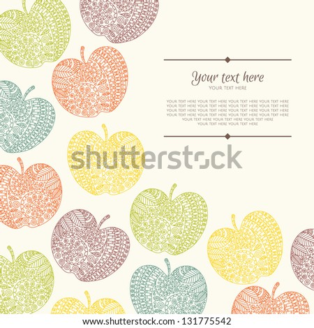 Banner with flower and place for your text in vector. Invitation card on background with excellent hand-drawn ornament. - stock vector