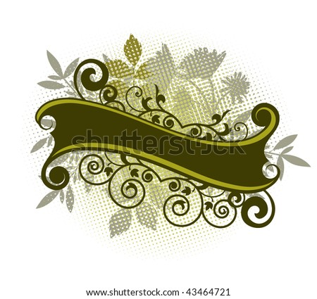 banner with foliage - stock vector