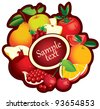 banner with fruit in a circle and place for text - stock photo