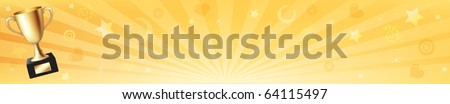 Banner With Gold Trophy Cup And Sun Rays, Vector Illustration - stock vector