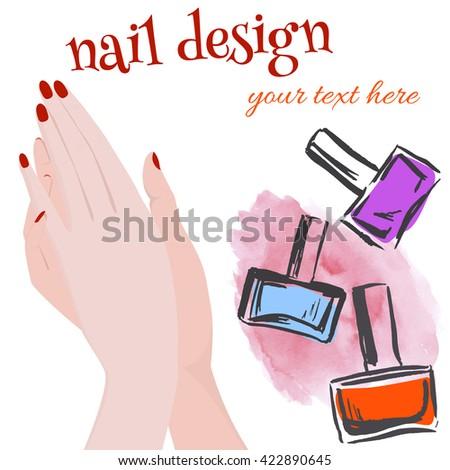 banner hands nail polish design leaflets stock vector royalty free