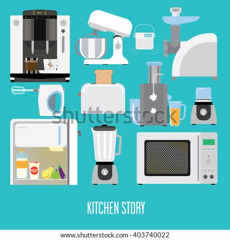 banner with kitchen appliances. - stock vector