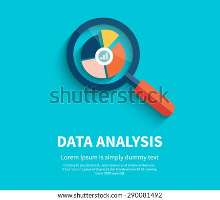 Banner with magnifying glass and multi-colored pie chart with the name Data analysis on blue background. For web construction, mobile applications, banners, corporate brochures, book covers, layouts  - stock vector