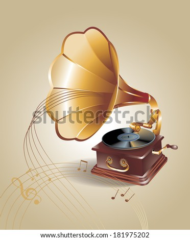 banner with old gramophone. Vector illustration. - stock vector